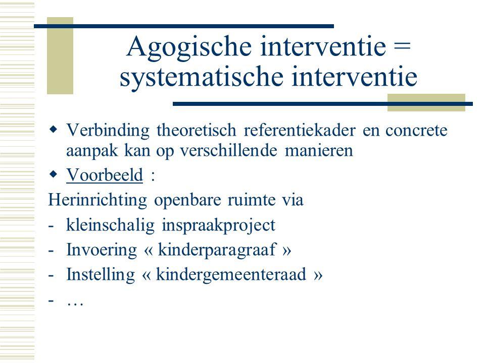 Agogische interventie = systematische interventie  Verbinding theoretisch referentiekader en concrete aanpak kan op verschillende manieren  Voorbeeld : Herinrichting openbare ruimte via -kleinschalig inspraakproject -Invoering « kinderparagraaf » -Instelling « kindergemeenteraad » -…