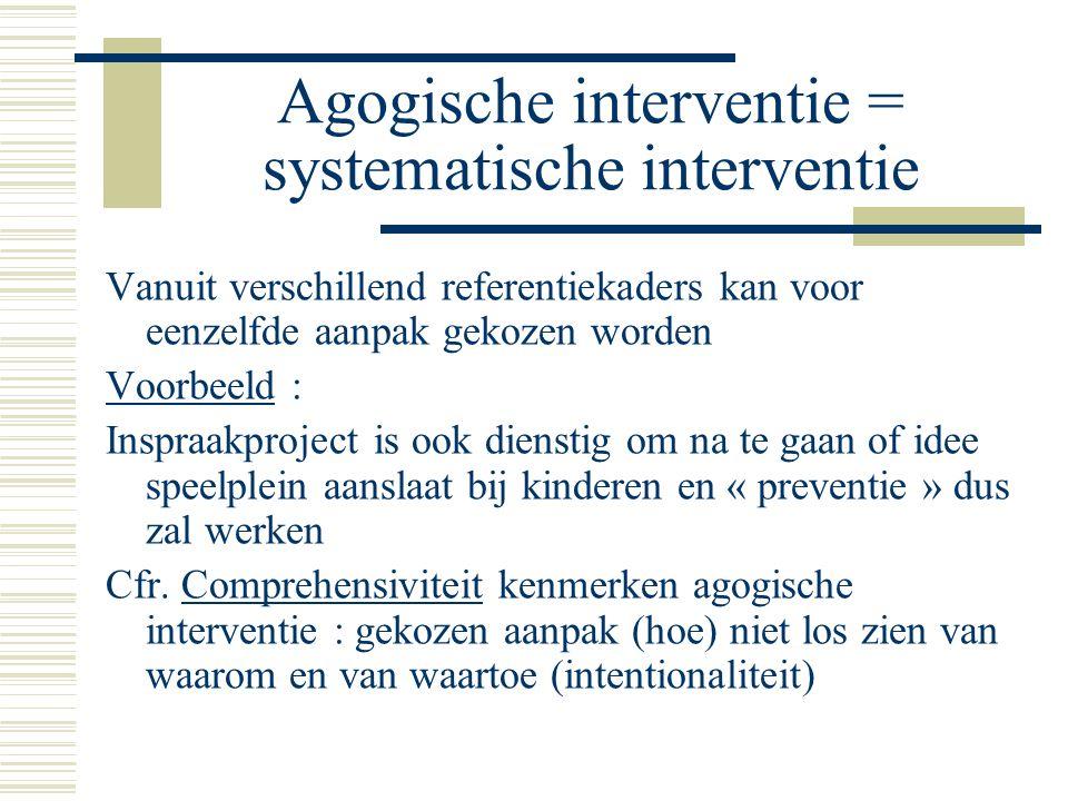 Agogische interventie = systematische interventie Vanuit verschillend referentiekaders kan voor eenzelfde aanpak gekozen worden Voorbeeld : Inspraakproject is ook dienstig om na te gaan of idee speelplein aanslaat bij kinderen en « preventie » dus zal werken Cfr.