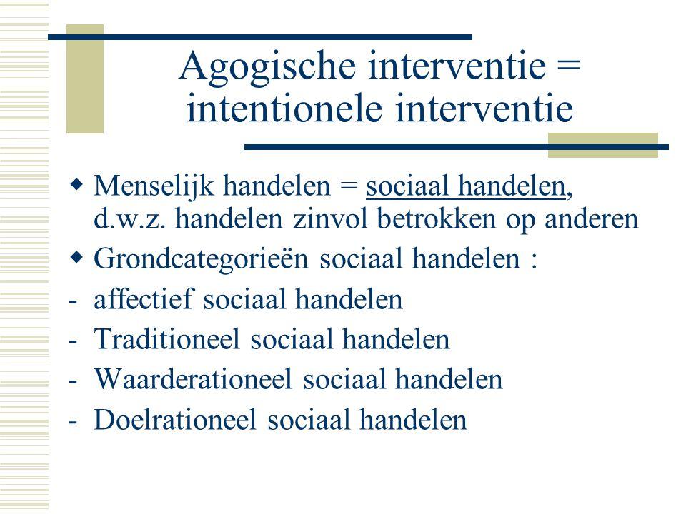 Agogische interventie = intentionele interventie  Menselijk handelen = sociaal handelen, d.w.z.