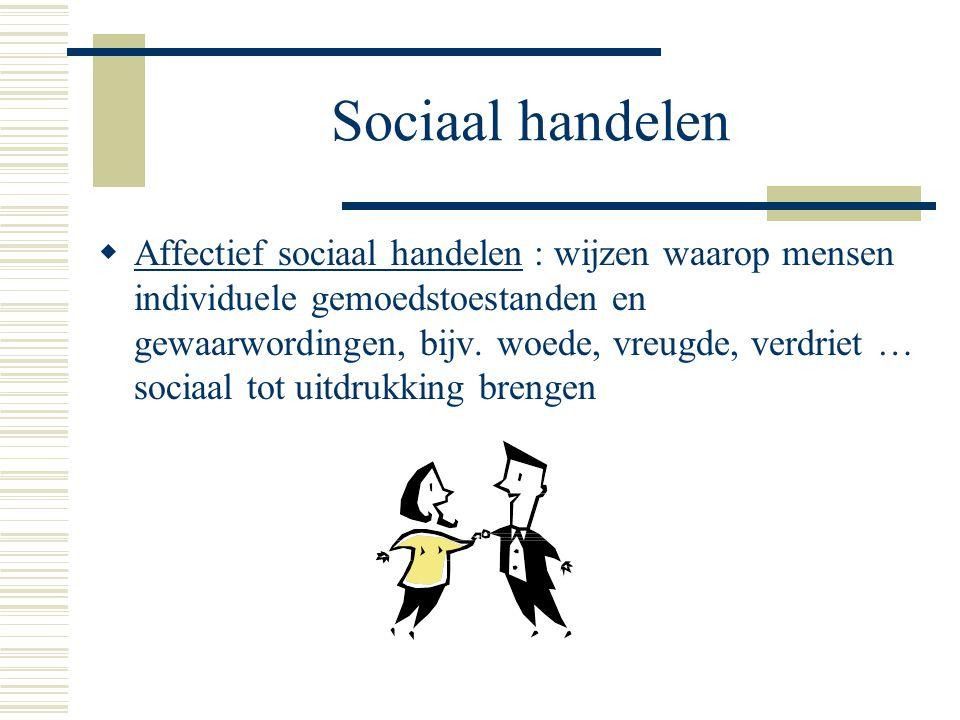 Sociaal handelen  Affectief sociaal handelen : wijzen waarop mensen individuele gemoedstoestanden en gewaarwordingen, bijv.