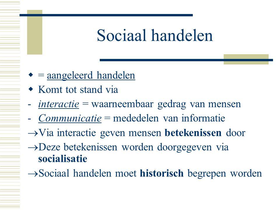 Sociaal handelen  = aangeleerd handelen  Komt tot stand via -interactie = waarneembaar gedrag van mensen -Communicatie = mededelen van informatie  Via interactie geven mensen betekenissen door  Deze betekenissen worden doorgegeven via socialisatie  Sociaal handelen moet historisch begrepen worden