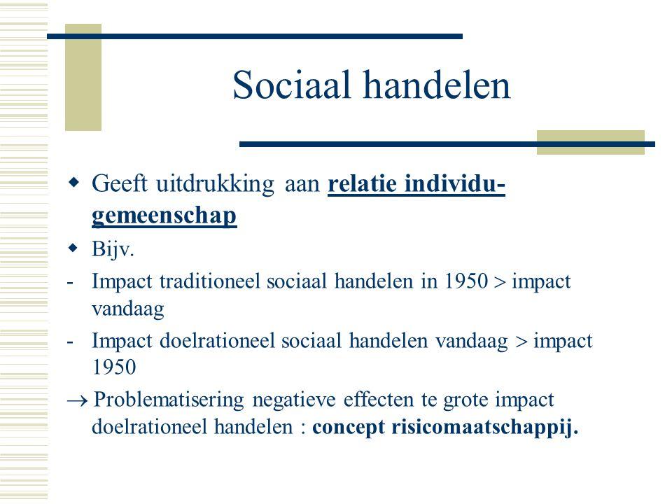 Sociaal handelen  Geeft uitdrukking aan relatie individu- gemeenschap  Bijv.