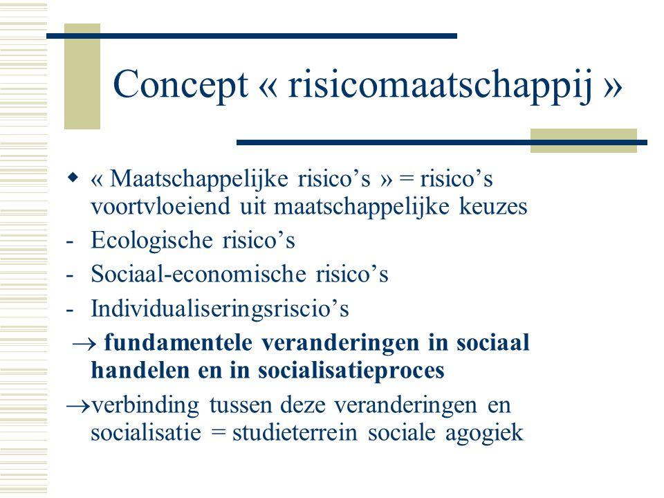 Concept « risicomaatschappij »  « Maatschappelijke risico's » = risico's voortvloeiend uit maatschappelijke keuzes -Ecologische risico's -Sociaal-economische risico's -Individualiseringsriscio's  fundamentele veranderingen in sociaal handelen en in socialisatieproces  verbinding tussen deze veranderingen en socialisatie = studieterrein sociale agogiek