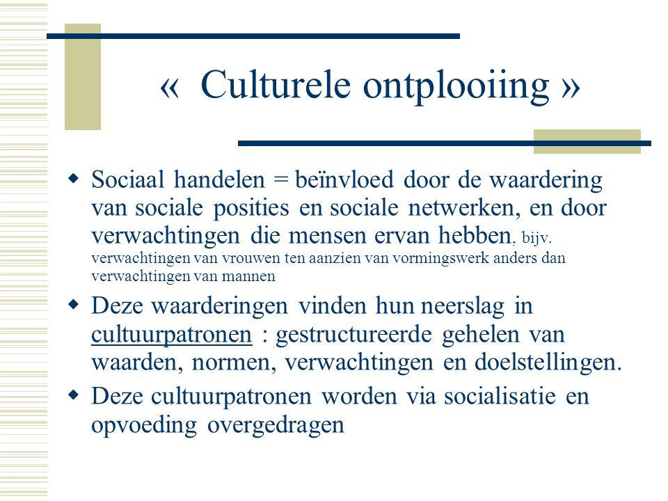 « Culturele ontplooiing »  Sociaal handelen = beïnvloed door de waardering van sociale posities en sociale netwerken, en door verwachtingen die mensen ervan hebben, bijv.