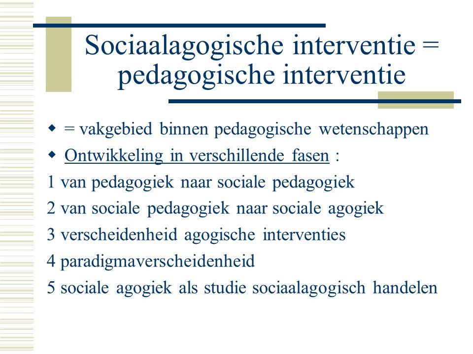 Sociaalagogische interventie = pedagogische interventie  = vakgebied binnen pedagogische wetenschappen  Ontwikkeling in verschillende fasen : 1 van pedagogiek naar sociale pedagogiek 2 van sociale pedagogiek naar sociale agogiek 3 verscheidenheid agogische interventies 4 paradigmaverscheidenheid 5 sociale agogiek als studie sociaalagogisch handelen