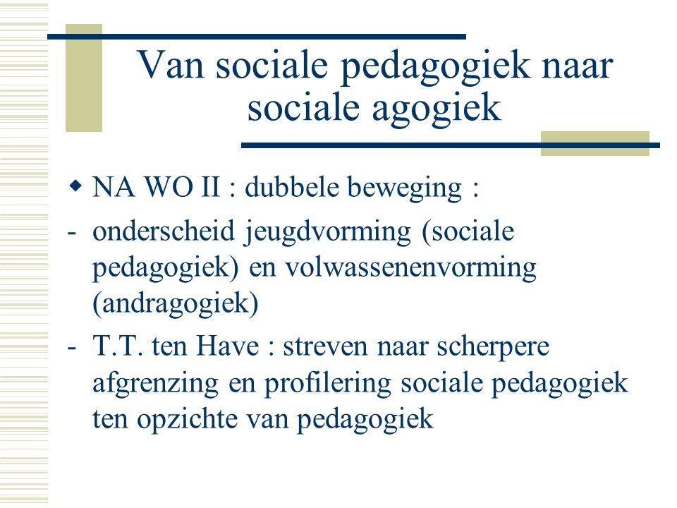 Van sociale pedagogiek naar sociale agogiek  NA WO II : dubbele beweging : -onderscheid jeugdvorming (sociale pedagogiek) en volwassenenvorming (andragogiek) -T.T.
