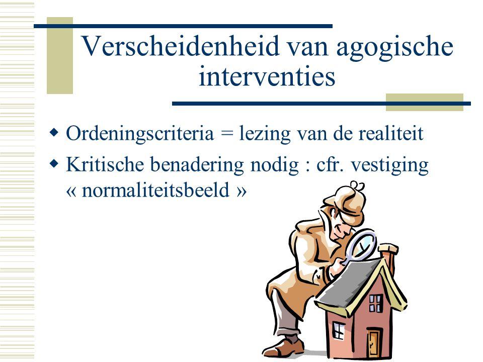 Verscheidenheid van agogische interventies  Ordeningscriteria = lezing van de realiteit  Kritische benadering nodig : cfr.