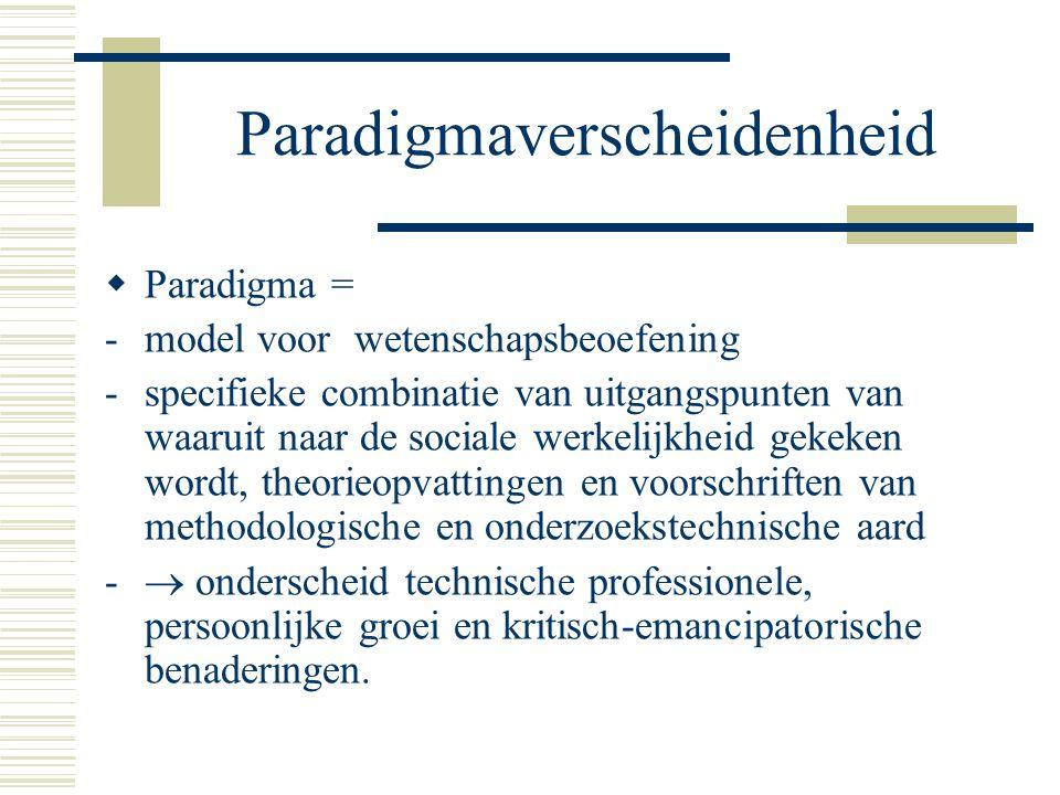 Paradigmaverscheidenheid  Paradigma = -model voor wetenschapsbeoefening -specifieke combinatie van uitgangspunten van waaruit naar de sociale werkelijkheid gekeken wordt, theorieopvattingen en voorschriften van methodologische en onderzoekstechnische aard -  onderscheid technische professionele, persoonlijke groei en kritisch-emancipatorische benaderingen.