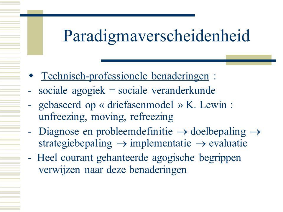 Paradigmaverscheidenheid  Technisch-professionele benaderingen : -sociale agogiek = sociale veranderkunde -gebaseerd op « driefasenmodel » K.