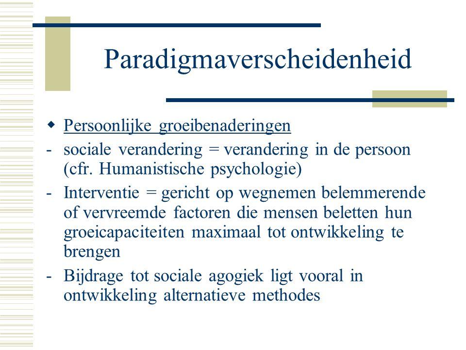 Paradigmaverscheidenheid  Persoonlijke groeibenaderingen -sociale verandering = verandering in de persoon (cfr.