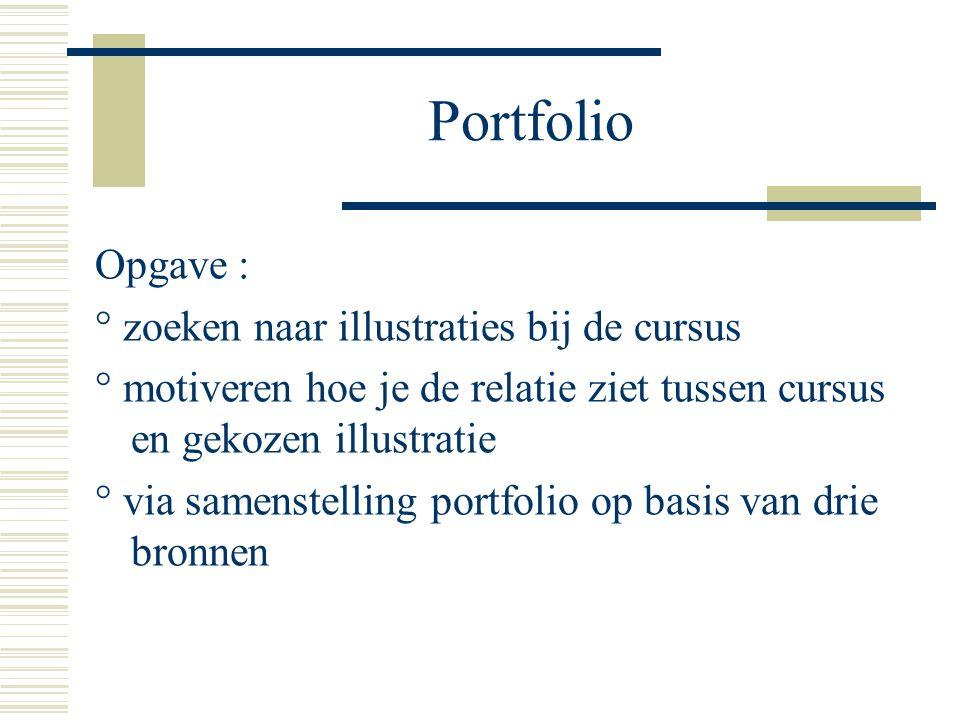 Portfolio Opgave : ° zoeken naar illustraties bij de cursus ° motiveren hoe je de relatie ziet tussen cursus en gekozen illustratie ° via samenstelling portfolio op basis van drie bronnen