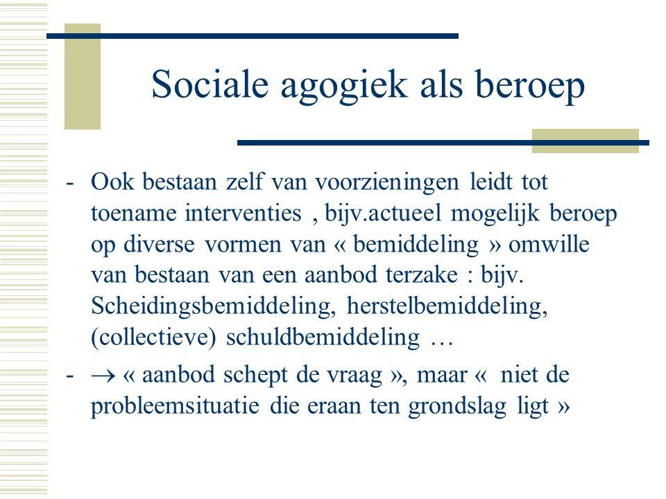 Sociale agogiek als beroep -Ook bestaan zelf van voorzieningen leidt tot toename interventies, bijv.actueel mogelijk beroep op diverse vormen van « bemiddeling » omwille van bestaan van een aanbod terzake : bijv.