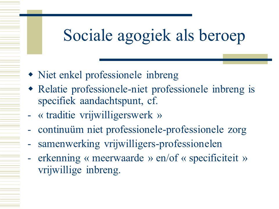 Sociale agogiek als beroep  Niet enkel professionele inbreng  Relatie professionele-niet professionele inbreng is specifiek aandachtspunt, cf.