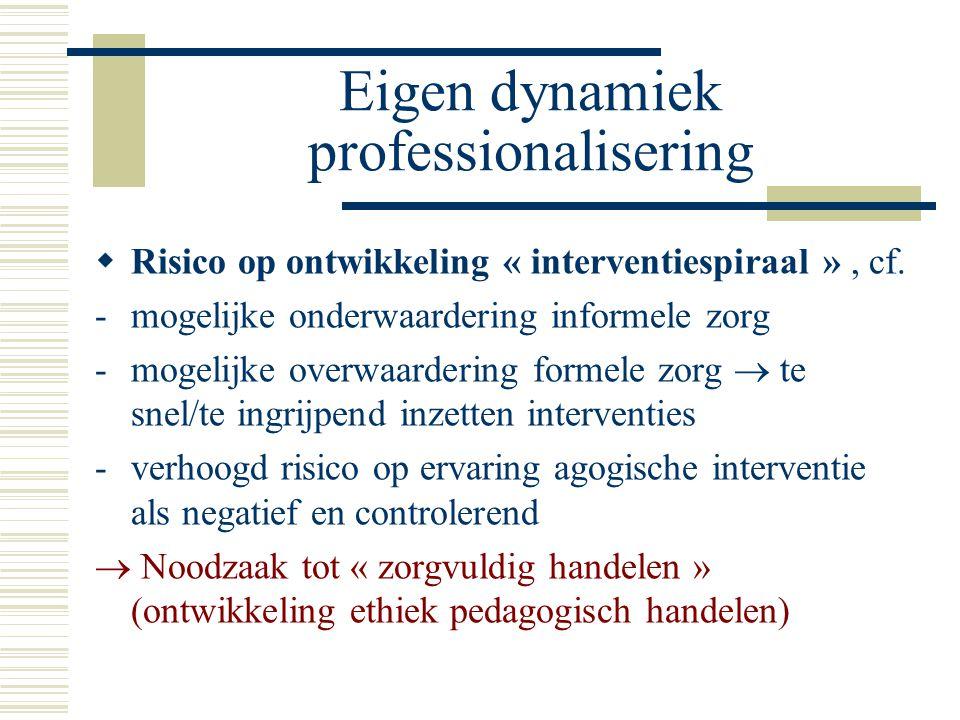 Eigen dynamiek professionalisering  Risico op ontwikkeling « interventiespiraal », cf.