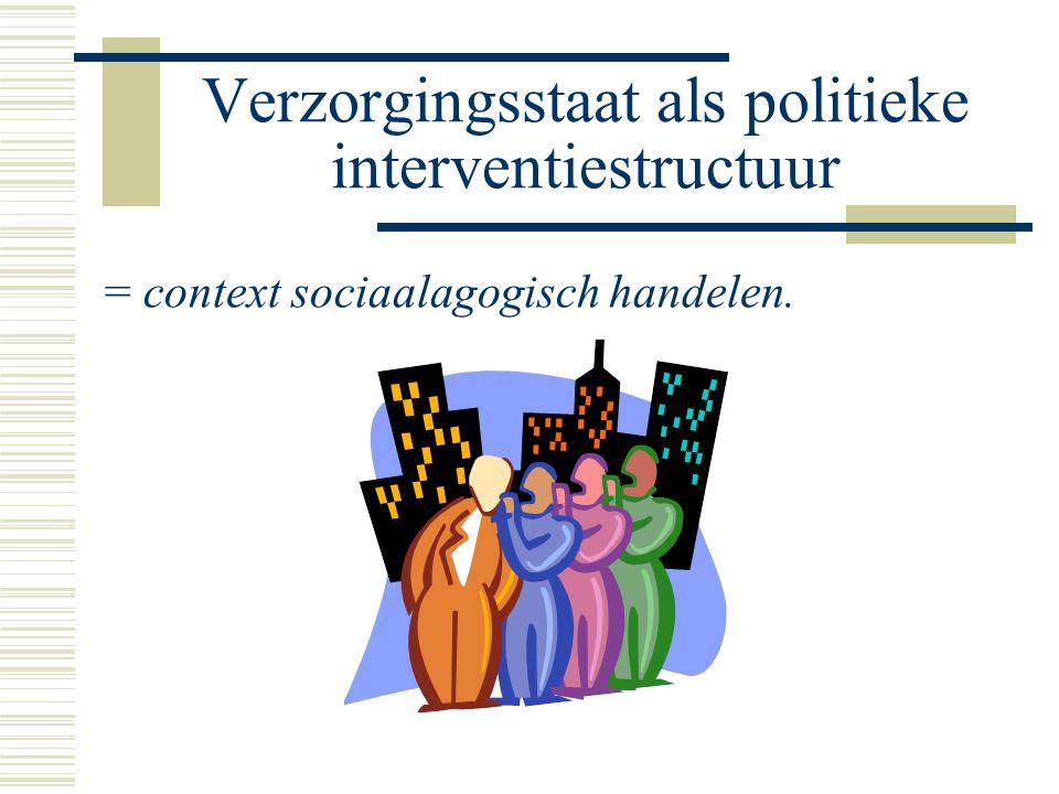 Verzorgingsstaat als politieke interventiestructuur = context sociaalagogisch handelen.