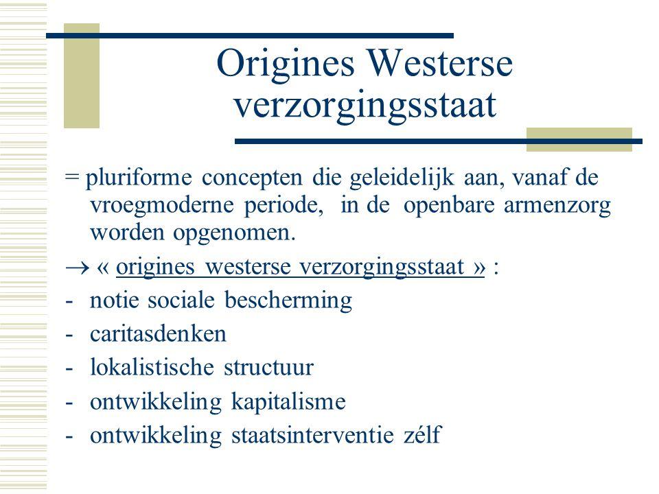 Origines Westerse verzorgingsstaat = pluriforme concepten die geleidelijk aan, vanaf de vroegmoderne periode, in de openbare armenzorg worden opgenomen.