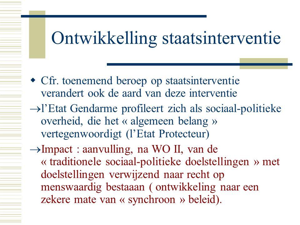 Ontwikkelling staatsinterventie  Cfr.