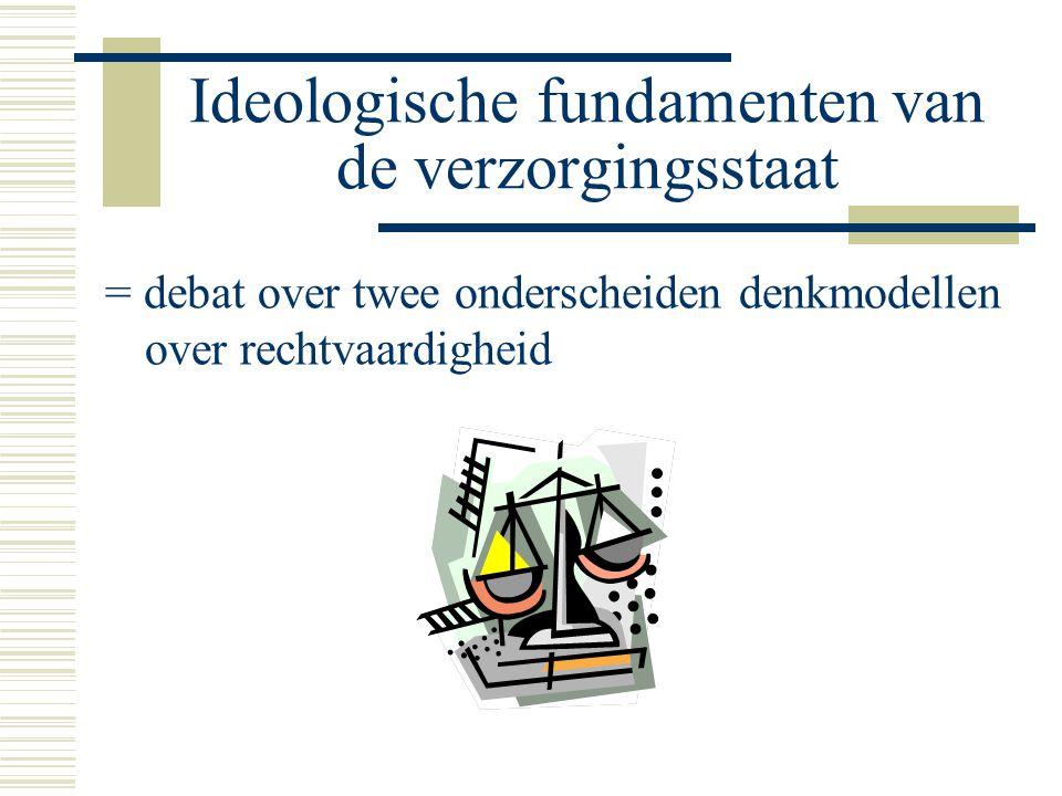 Ideologische fundamenten van de verzorgingsstaat = debat over twee onderscheiden denkmodellen over rechtvaardigheid