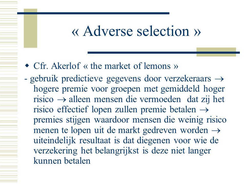 « Adverse selection »  Cfr.