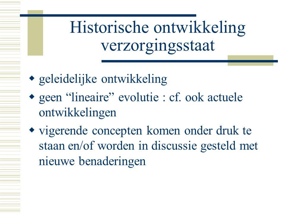 Historische ontwikkeling verzorgingsstaat  geleidelijke ontwikkeling  geen lineaire evolutie : cf.