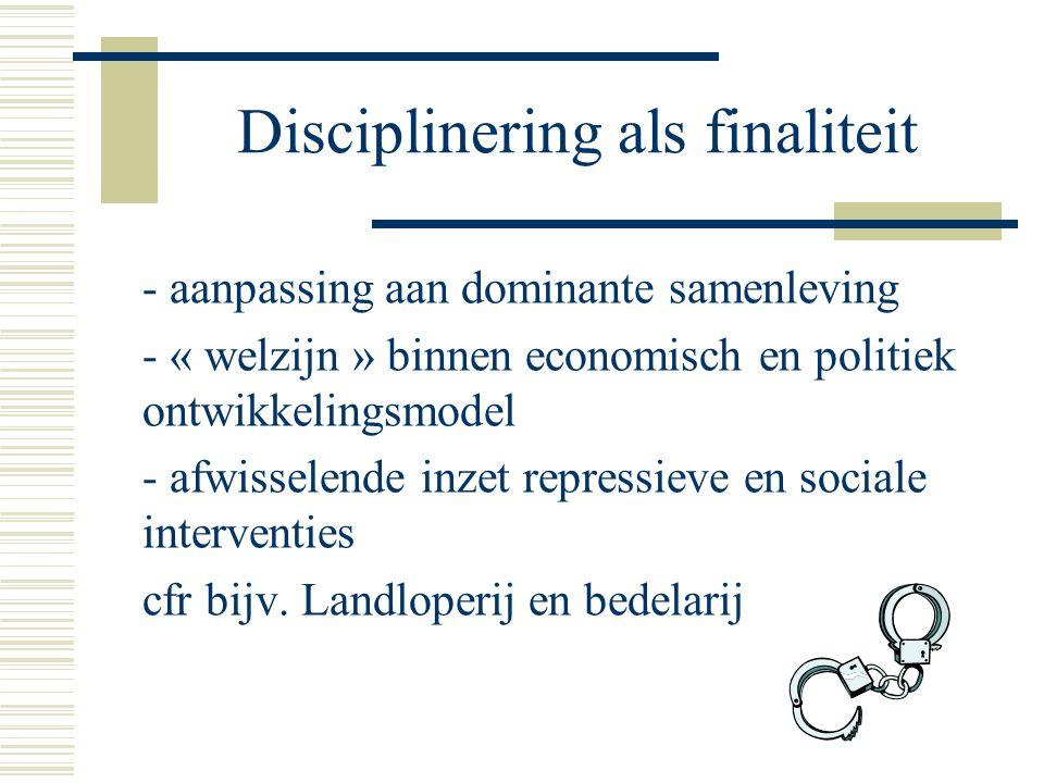 - aanpassing aan dominante samenleving - « welzijn » binnen economisch en politiek ontwikkelingsmodel - afwisselende inzet repressieve en sociale interventies cfr bijv.