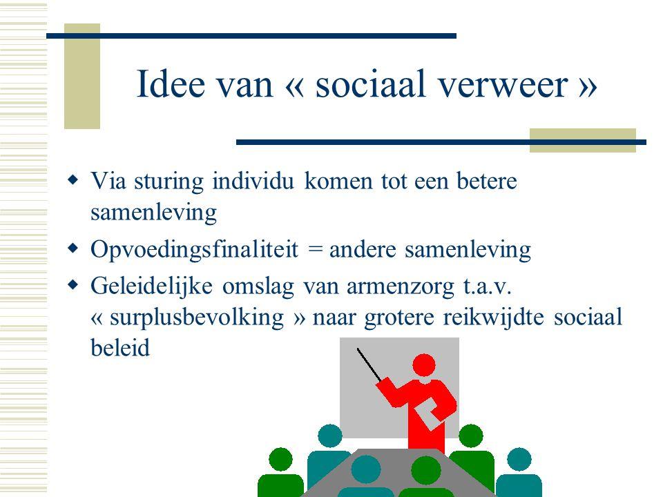 Idee van « sociaal verweer »  Via sturing individu komen tot een betere samenleving  Opvoedingsfinaliteit = andere samenleving  Geleidelijke omslag van armenzorg t.a.v.