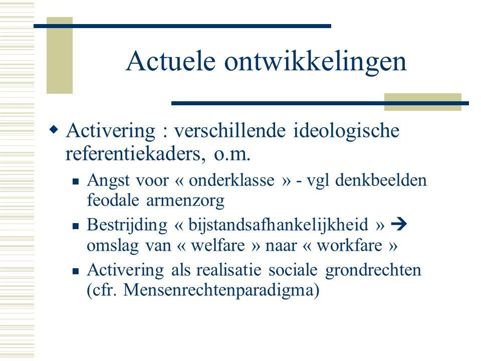 Actuele ontwikkelingen  Activering : verschillende ideologische referentiekaders, o.m.