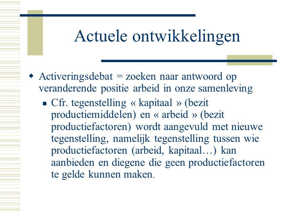 Actuele ontwikkelingen  Activeringsdebat = zoeken naar antwoord op veranderende positie arbeid in onze samenleving Cfr.
