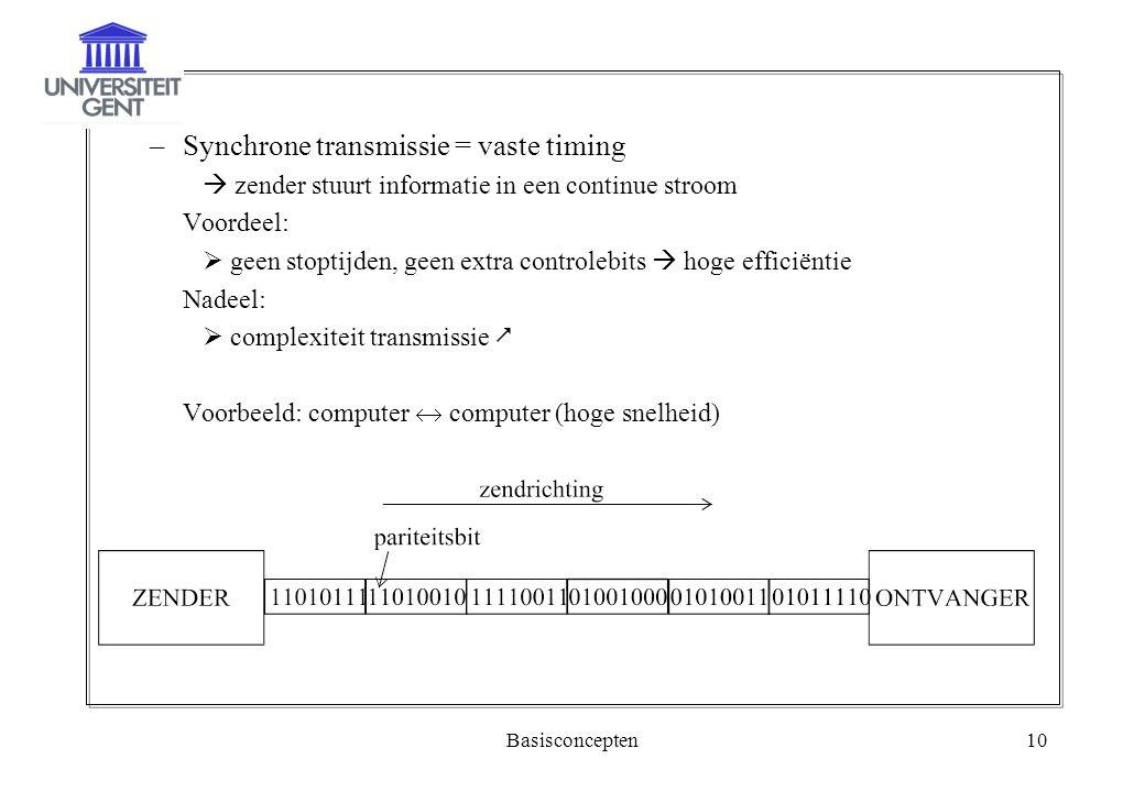 Basisconcepten10 –Synchrone transmissie = vaste timing  zender stuurt informatie in een continue stroom Voordeel:  geen stoptijden, geen extra contr