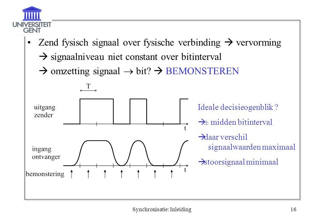 Synchronisatie: Inleiding16 Zend fysisch signaal over fysische verbinding  vervorming  signaalniveau niet constant over bitinterval  omzetting sign