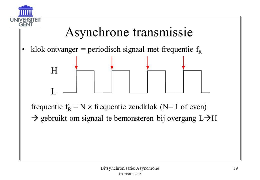 Bitsynchronisatie: Asynchrone transmissie 19 Asynchrone transmissie klok ontvanger = periodisch signaal met frequentie f R frequentie f R = N  freque