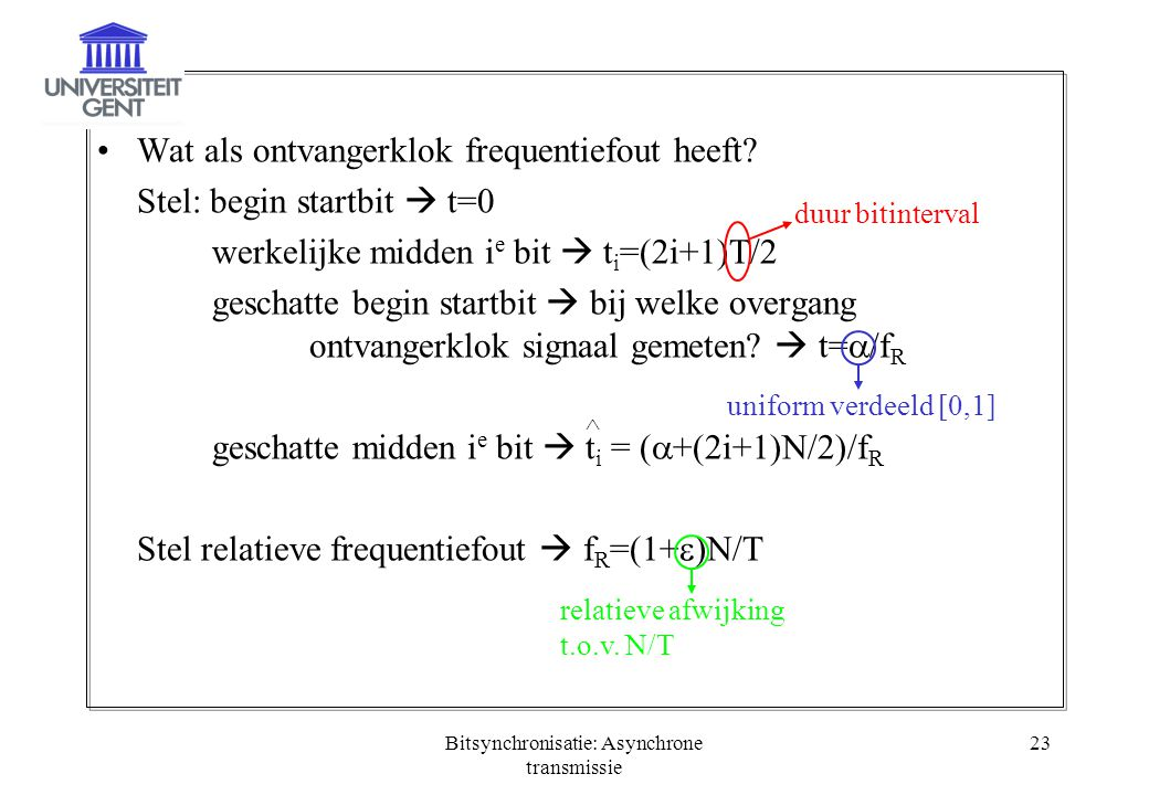 Bitsynchronisatie: Asynchrone transmissie 23 Wat als ontvangerklok frequentiefout heeft? Stel: begin startbit  t=0 werkelijke midden i e bit  t i =(