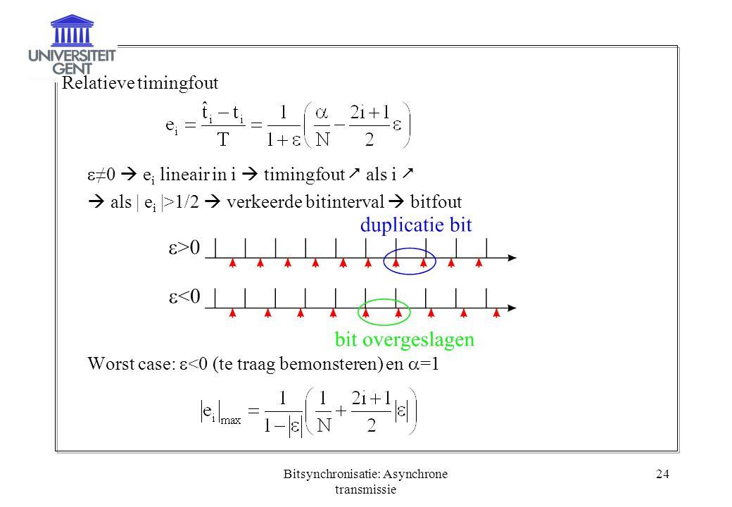 Bitsynchronisatie: Asynchrone transmissie 24 Relatieve timingfout  ≠0  e i lineair in i  timingfout  als i   als | e i |>1/2  verkeerde bitinte