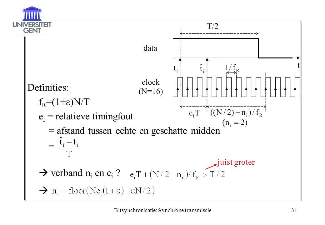Bitsynchronisatie: Synchrone transmissie31 Definities: f R =(1+  )N/T e i = relatieve timingfout = afstand tussen echte en geschatte midden =  verba
