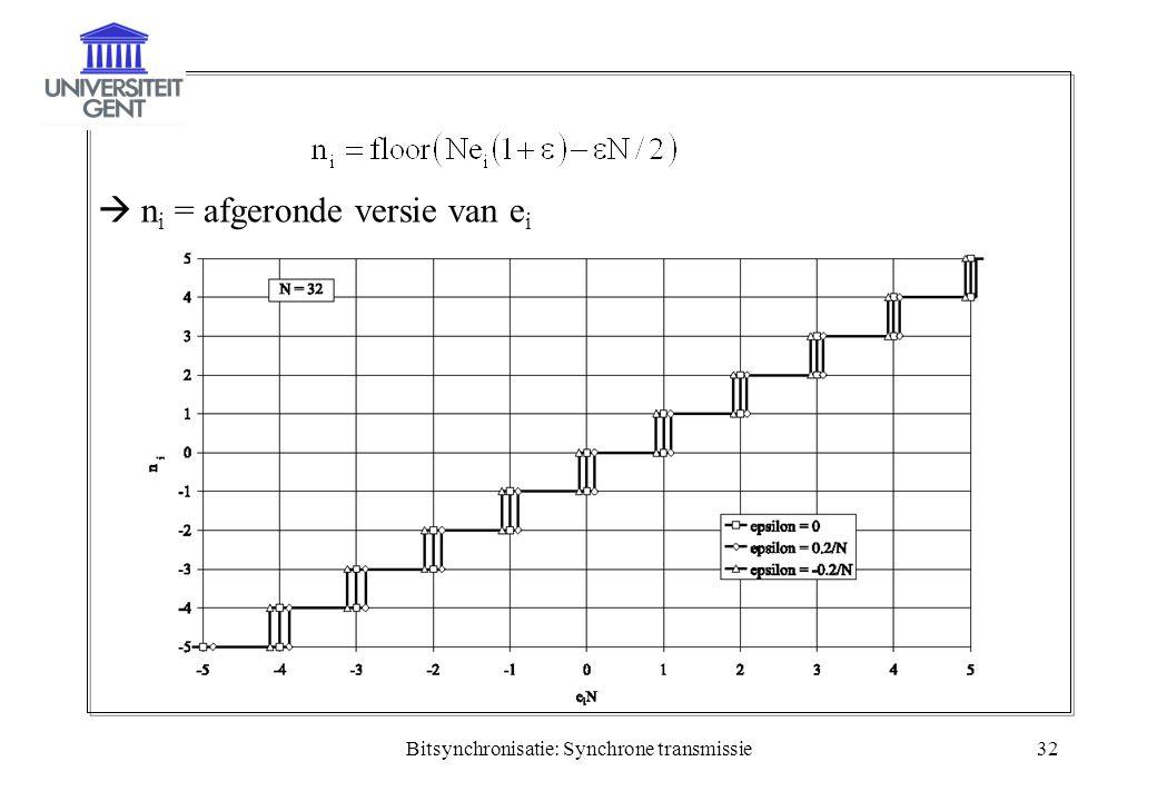 Bitsynchronisatie: Synchrone transmissie32  n i = afgeronde versie van e i
