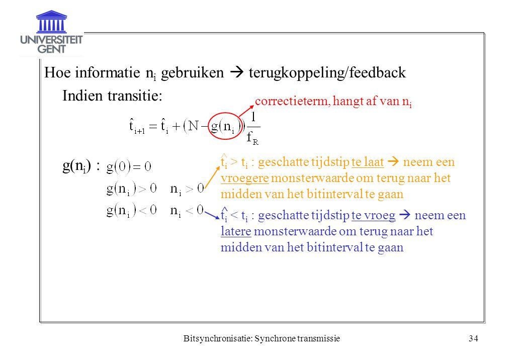 Bitsynchronisatie: Synchrone transmissie34 Hoe informatie n i gebruiken  terugkoppeling/feedback Indien transitie: g(n i ) : correctieterm, hangt af