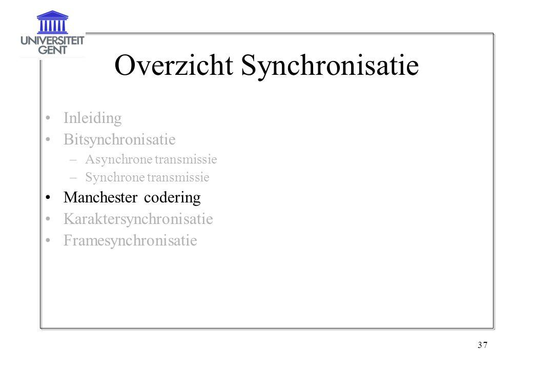 37 Overzicht Synchronisatie Inleiding Bitsynchronisatie –Asynchrone transmissie –Synchrone transmissie Manchester codering Karaktersynchronisatie Fram