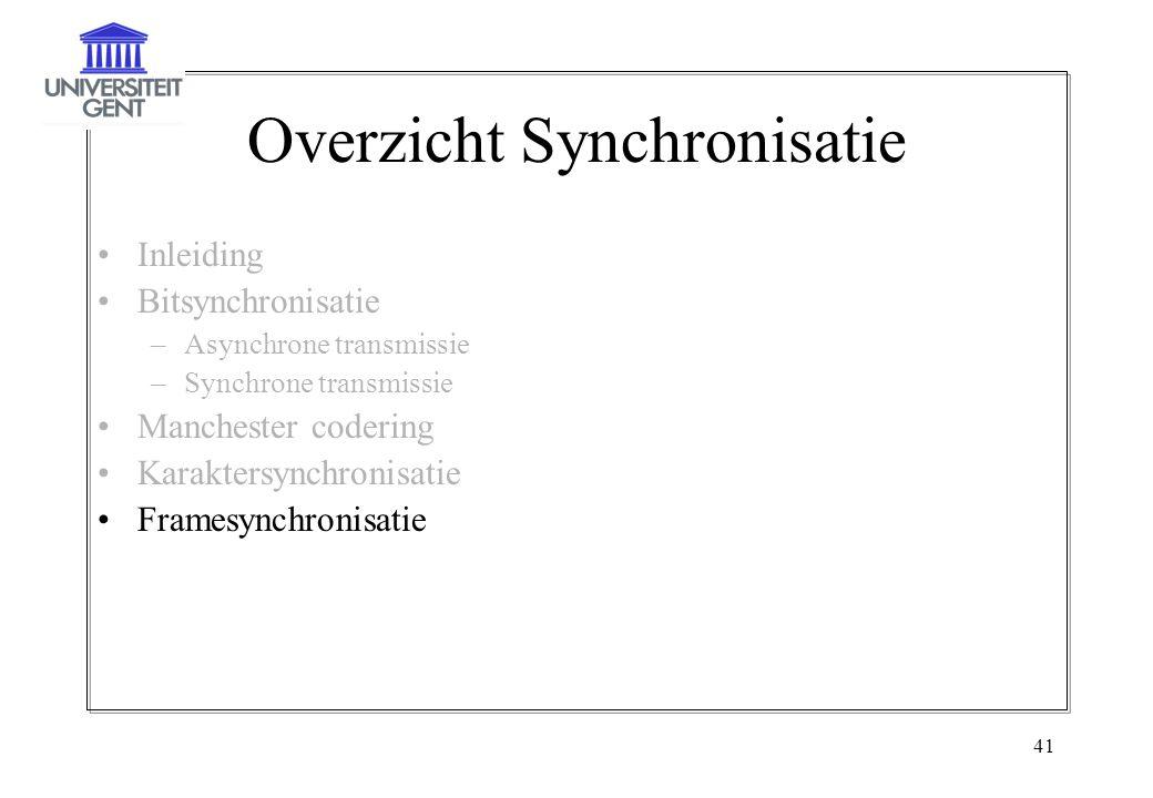41 Overzicht Synchronisatie Inleiding Bitsynchronisatie –Asynchrone transmissie –Synchrone transmissie Manchester codering Karaktersynchronisatie Fram