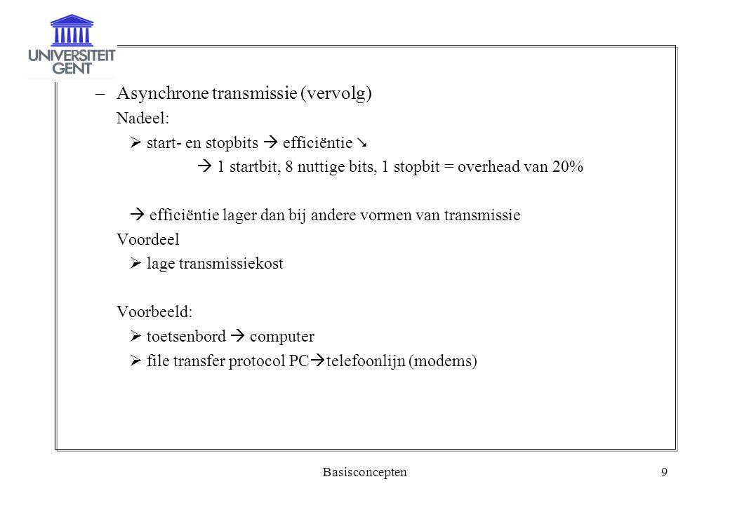 Basisconcepten9 –Asynchrone transmissie (vervolg) Nadeel:  start- en stopbits  efficiëntie   1 startbit, 8 nuttige bits, 1 stopbit = overhead van