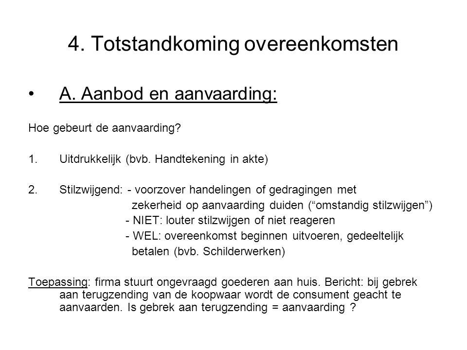 4.Totstandkoming overeenkomsten A. Aanbod en aanvaarding: Hoe gebeurt de aanvaarding.