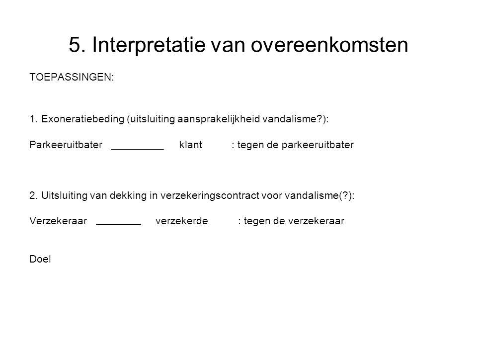 5.Interpretatie van overeenkomsten TOEPASSINGEN: 1.