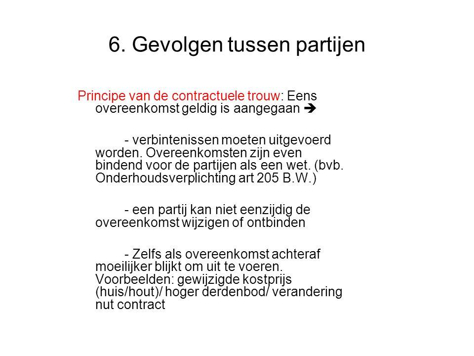 6. Gevolgen tussen partijen Principe van de contractuele trouw: Eens overeenkomst geldig is aangegaan  - verbintenissen moeten uitgevoerd worden. Ove