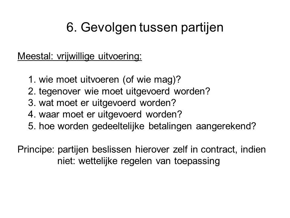 6.Gevolgen tussen partijen Meestal: vrijwillige uitvoering: 1.