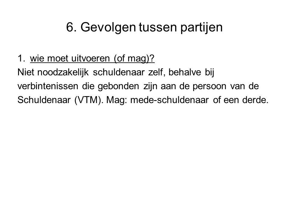6.Gevolgen tussen partijen 1. wie moet uitvoeren (of mag).