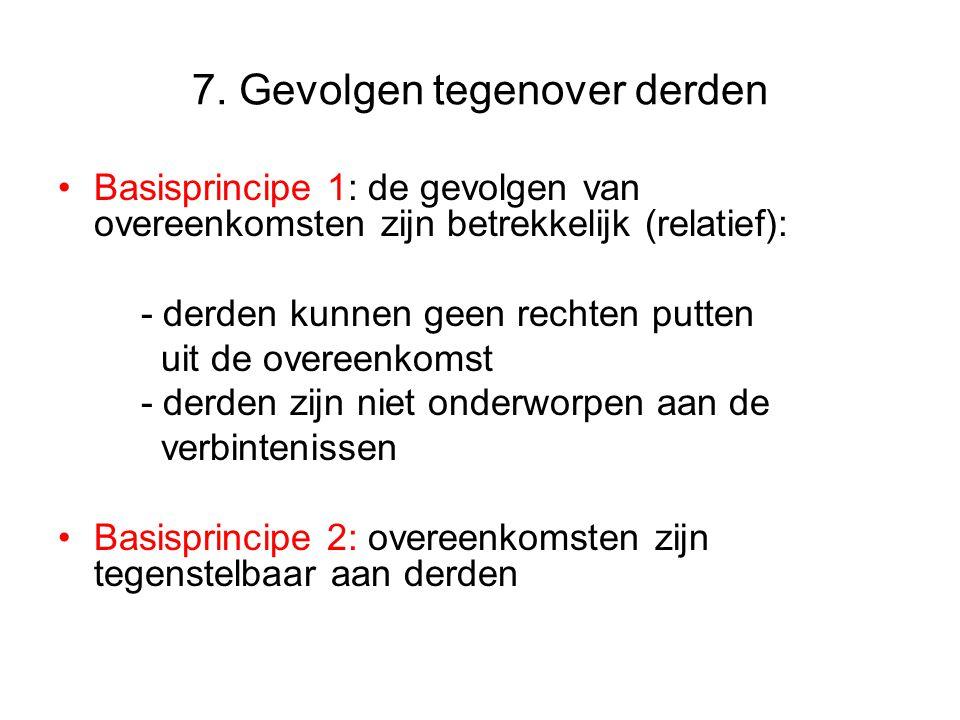 7. Gevolgen tegenover derden Basisprincipe 1: de gevolgen van overeenkomsten zijn betrekkelijk (relatief): - derden kunnen geen rechten putten uit de