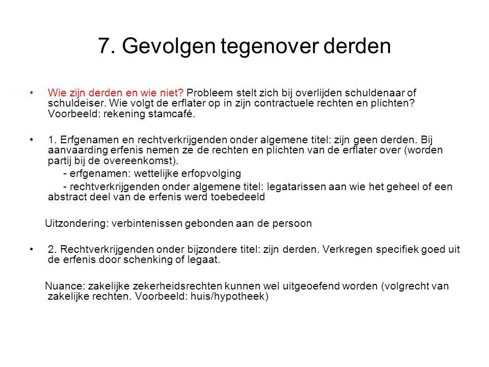 7.Gevolgen tegenover derden Wie zijn derden en wie niet.