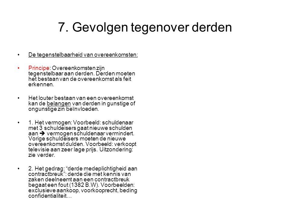 7. Gevolgen tegenover derden De tegenstelbaarheid van overeenkomsten: Principe: Overeenkomsten zijn tegenstelbaar aan derden. Derden moeten het bestaa