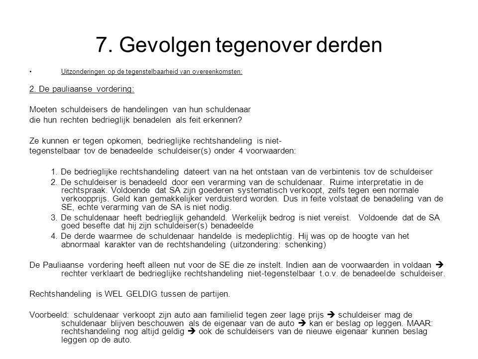 7.Gevolgen tegenover derden Uitzonderingen op de tegenstelbaarheid van overeenkomsten: 2.