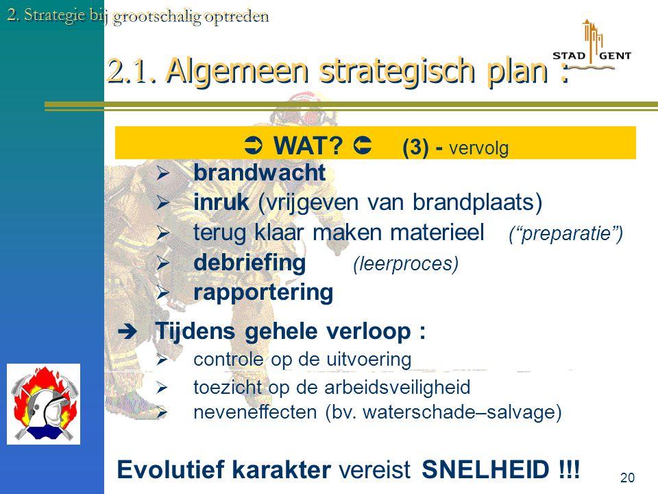 19 2.1. Algemeen strategisch plan : 2. Strategie bij grootschalig optreden  De Bevelvoeringsprocedure (herhaling)  Overweeg de opdracht  Overweeg d