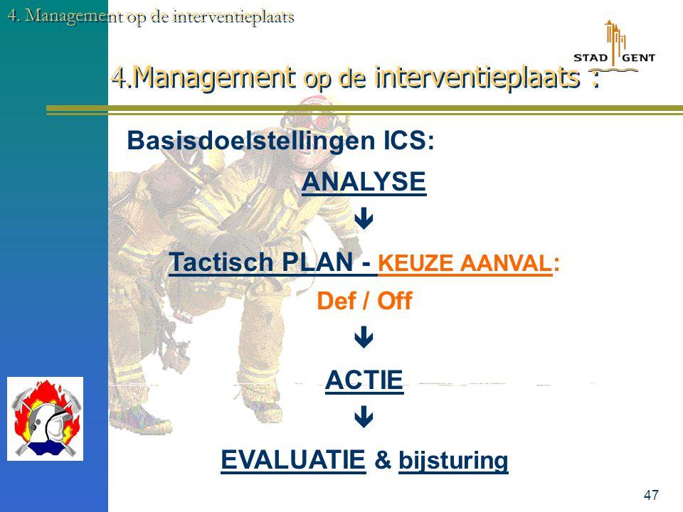 46 4. Management op de interventieplaats 4. Management op de interventieplaats : Dir-CP-Ops (Naam) Leider van de operaties (Naam) Dir-BW (Naam) Verteg